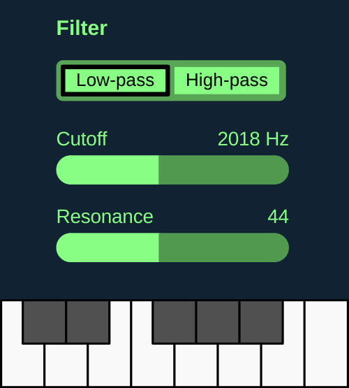 Filter resonance Subtractive Synthesizer